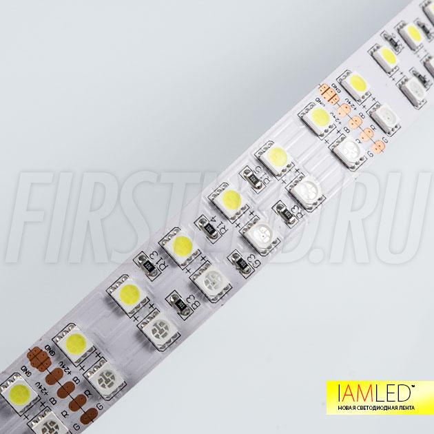 Многоцветная светодиодная лента IAMLED RGB WHITE 144 – 144 светодиода на 1 метр, подключается к блоку питания 24V