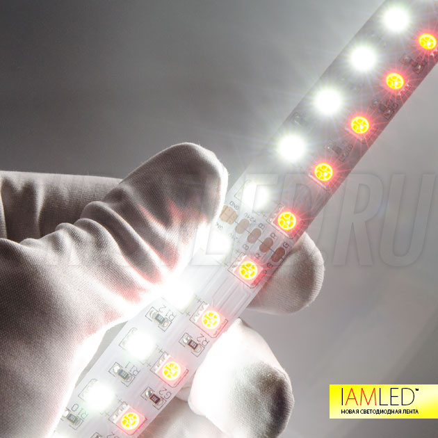 Высокая яркость ленты наполнит интерьер цветным освещением и добавит капельку утонченности благодаря белому оттенку!