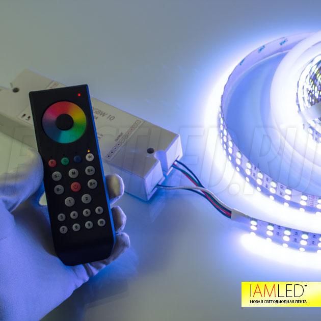 Только представьте: с помощью пульта управления вы выбираете цветной оттенок подсветки, и добавляете к нему дополнительный оттенок белого цвета. И все это одна светодиодная лента!