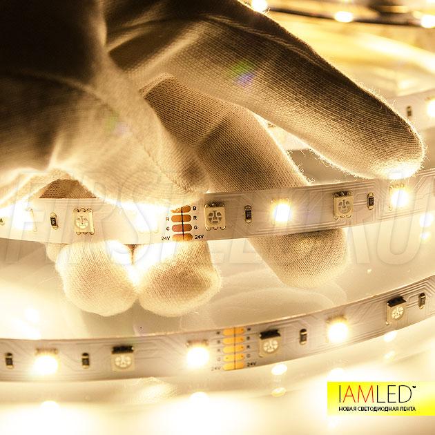 Отдельно светящийся светодиод теплого белого оттенка на светодиодной ленте IAMLED RGB WHITE 60