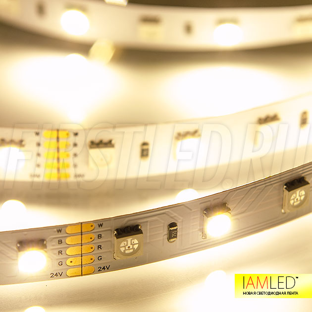 Мультицветная светодиодная лента IAMLED RGB WHITE 60 — Теплый белый цвет