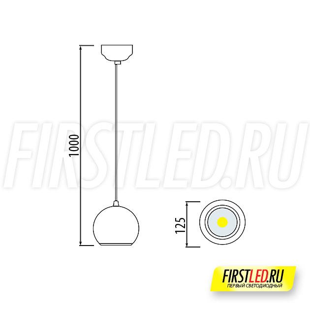 Чертеж (схема) подвесного светодиодного светильника FLOAT Ball 10W
