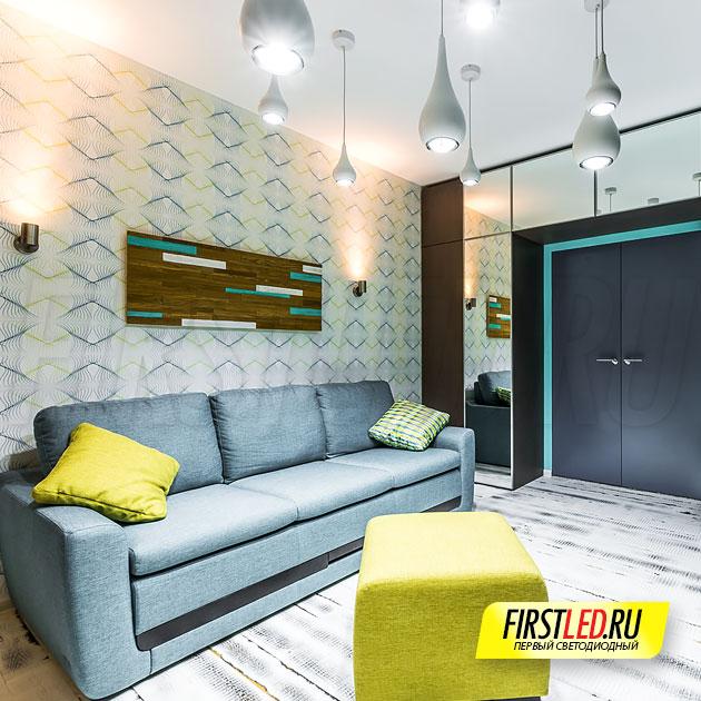 Подвесные светодиодные светильники FLOAT Drop в гостиной