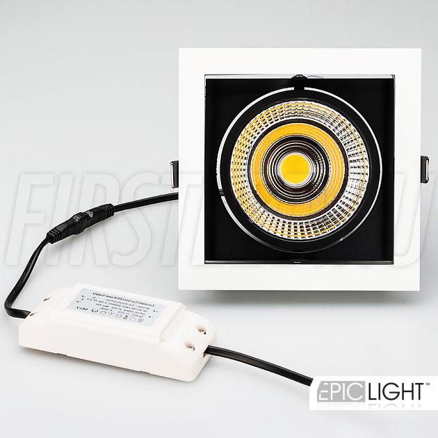 Встраиваемый карданный светодиодный светильник KARDAN 25W (152mm) в комплекте с драйвером тока на 220V