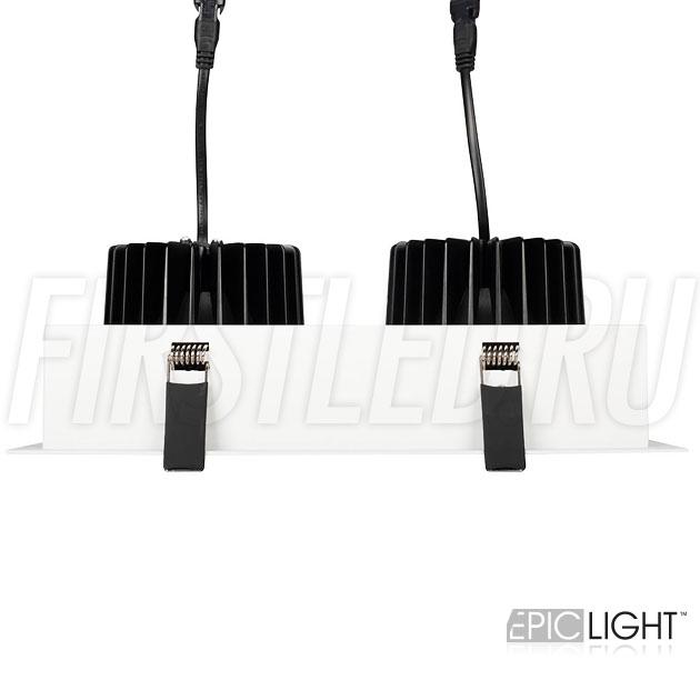 Двойной встраиваемый светодиодный светильник карданного типа KARDAN 2x25W (152mm) для установки в отверстие 255×140мм