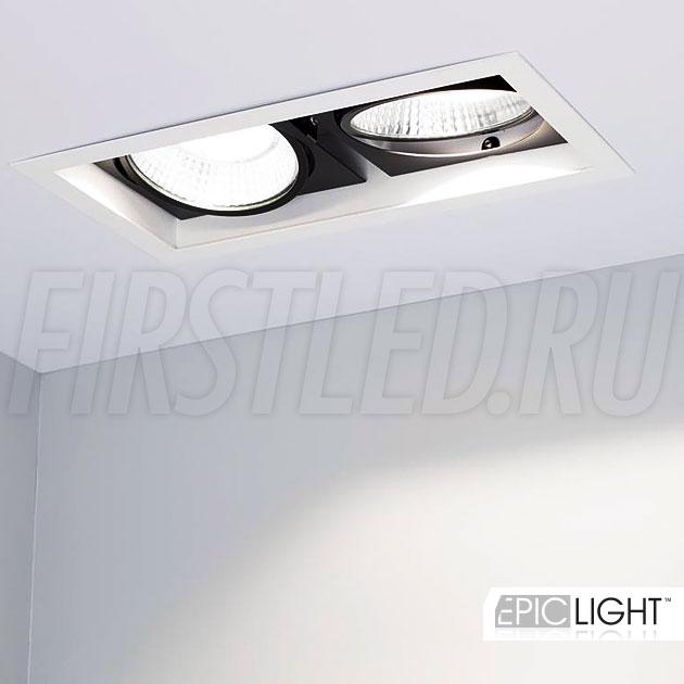 Двойной мощный встраиваемый светодиодный светильник карданного типа KARDAN 2x25W (152mm) с поворотными светодиодными модулями