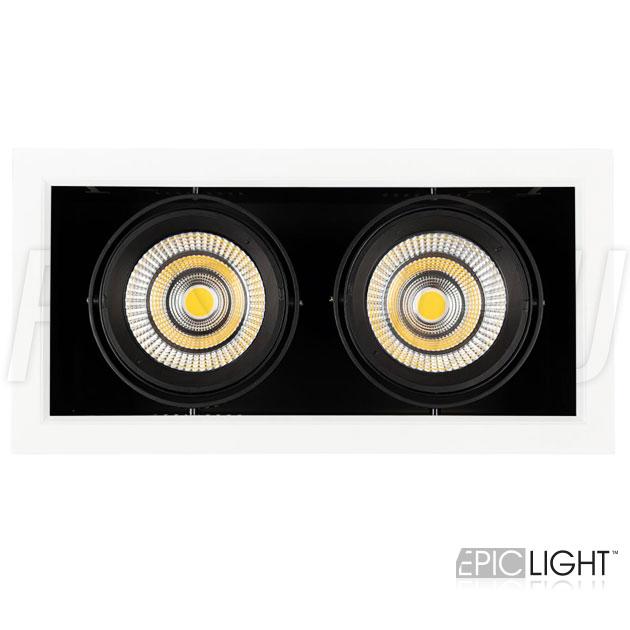 Двойной встраиваемый светодиодный светильник KARDAN 2x25W (190mm) с возможностью поворота светодиодный модулей