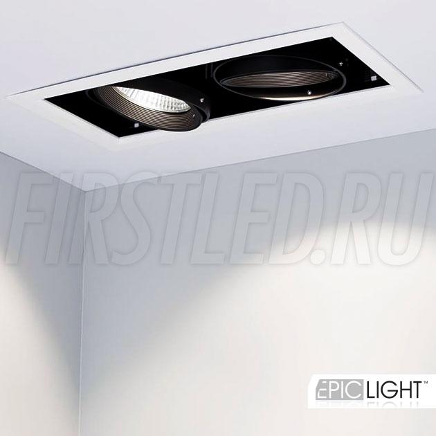 50 Ватт мощности — это двойной карданный встраиваемый светодиодный светильник KARDAN 2x25W (190mm)