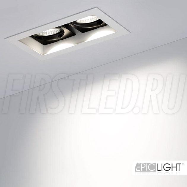 Встраиваемый светодиодный светильник карданного типа KARDAN 2x9W