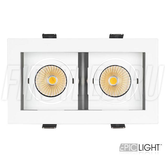Встраиваемый светильник KARDAN 2x9W (белый с белой рамкой) с двумя поворотными светодиодными модулями