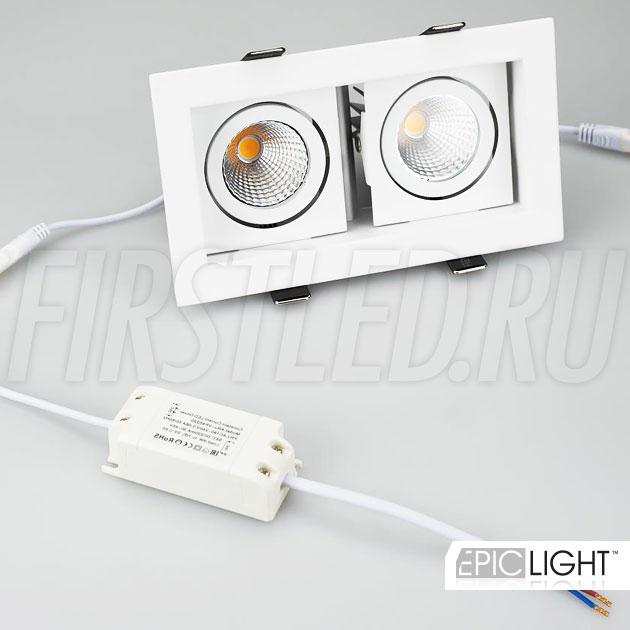 Карданный светодиодный светильник встраиваемого типа KARDAN 2x9W в комплекте с двумя драйверами тока на 220V