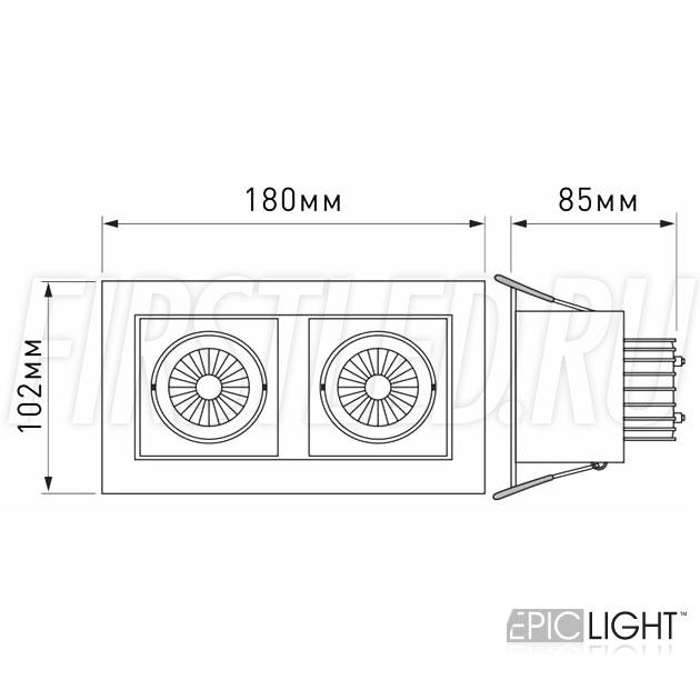 Чертеж (схема) карданного светильника KARDAN 2x9W