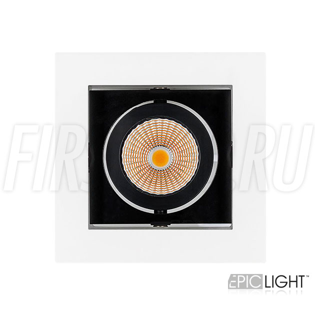 Одинарный встраиваемый светодиодный светильник KARDAN 9W (черный с белой рамкой)