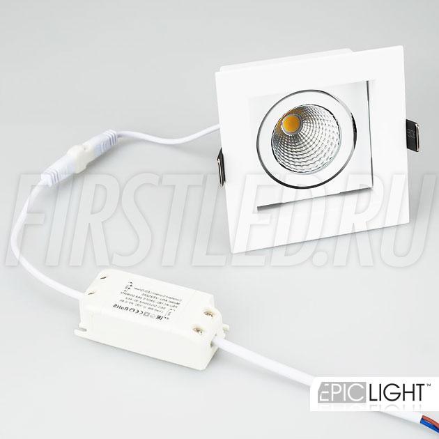 Встраиваемый карданный светодиодный светильник KARDAN 9W в комплекте с драйвером тока на 220V