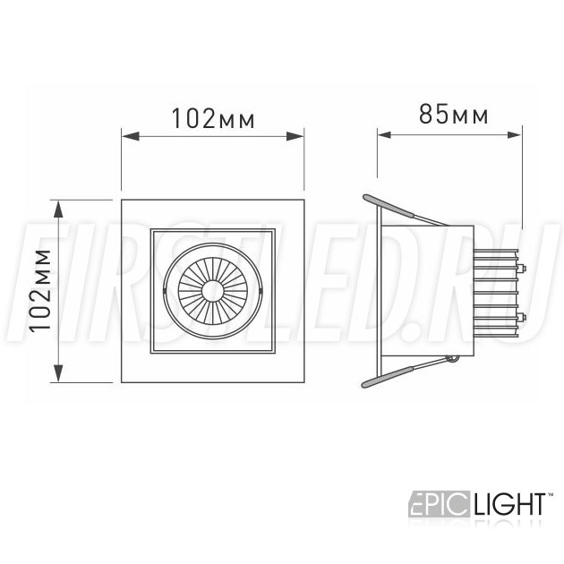 Чертеж (схема) карданного светильника KARDAN 9W