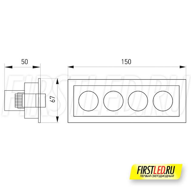 Чертеж (схема) встраиваемого светильника ORIENT BUILT 10W