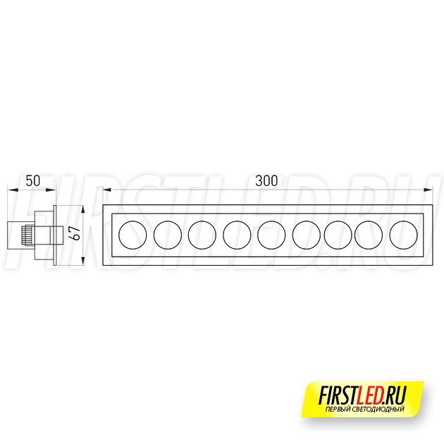 Чертеж (схема) встраиваемого светильника ORIENT BUILT 20W