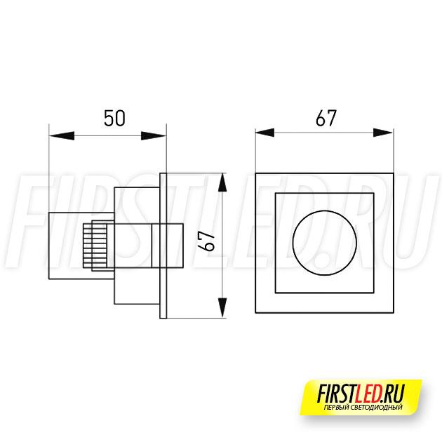Чертеж (схема) встраиваемого светильника ORIENT BUILT 3W