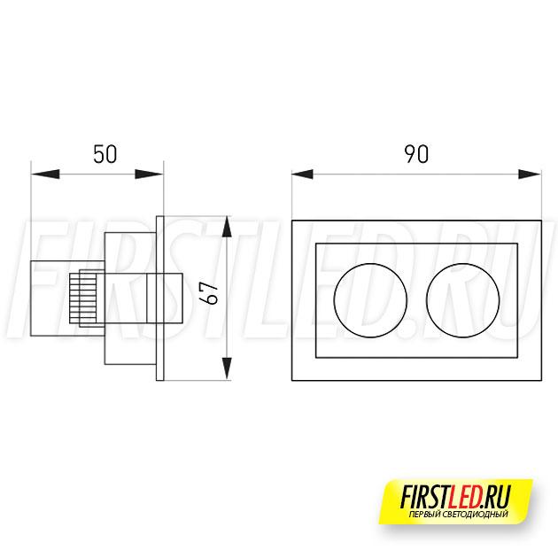 Чертеж (схема) встраиваемого светильника ORIENT BUILT 5W