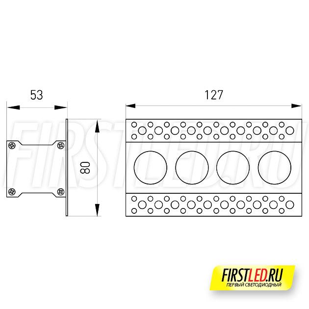 Чертеж (схема) встраиваемого светильника без рамок ORIENT TRIMLESS 10W