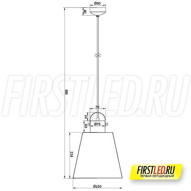 Чертеж (схема) подвесного светодиодного светильника PAIL