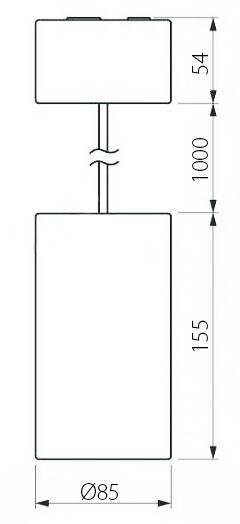 Чертеж (схема) подвесного светодиодного светильника POLONIUM S 15W