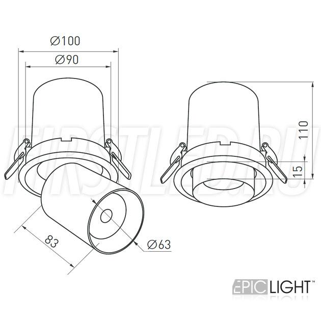 Чертеж (схема) встраиваемого светильника PULL R 10W