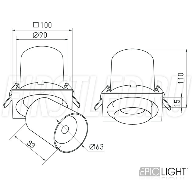 Чертеж (схема) встраиваемого светильника PULL S 10W