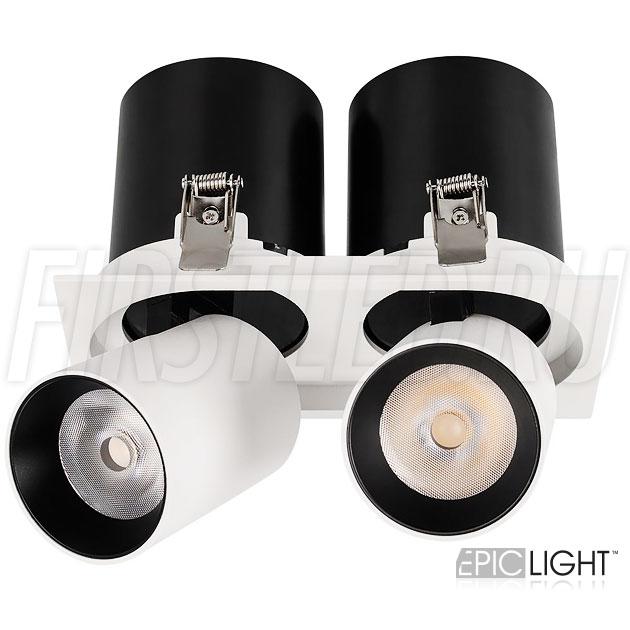 Встраиваемый двойной светодиодный светильник с поворотно-выдвижным механизмом PULL S 2x10W