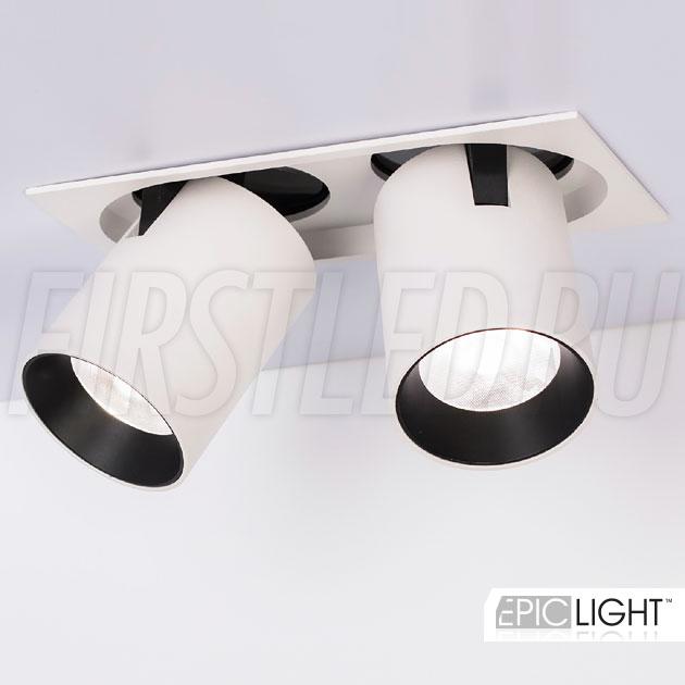 Встраиваемый двойной светодиодный светильник с прямоугольной рамкой и выдвижным механизмом PULL S 2x10W