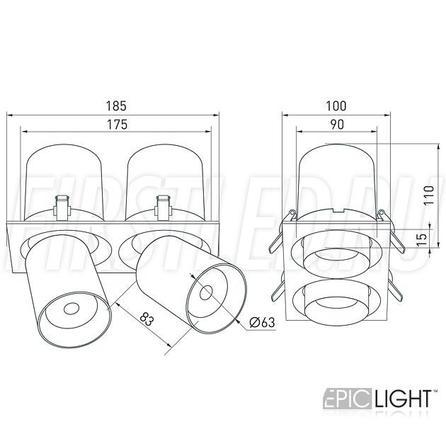 Чертеж (схема) встраиваемого светильника PULL S 2x10W