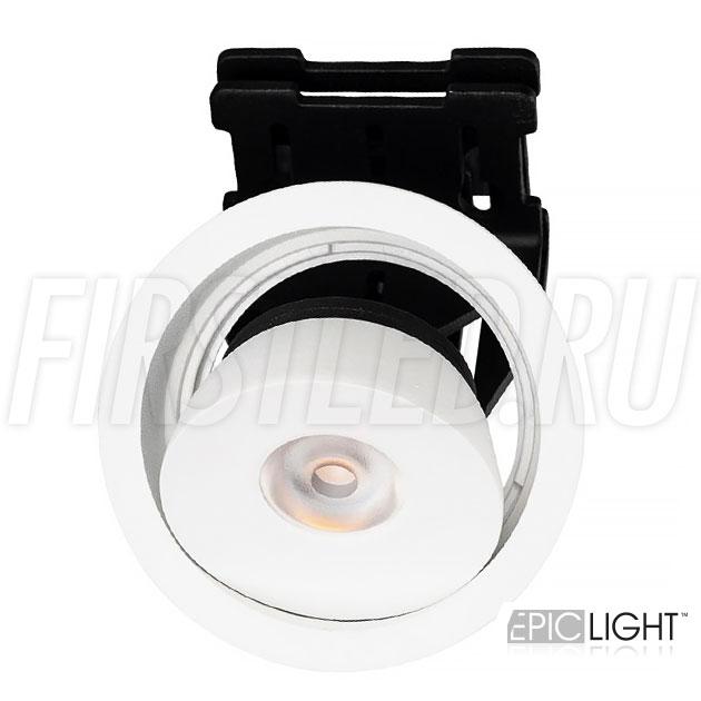 Встраиваемый светодиодный светильник с регулируемым углом наклона SIMPLE R 9W в круглом исполнении и белом корпусе