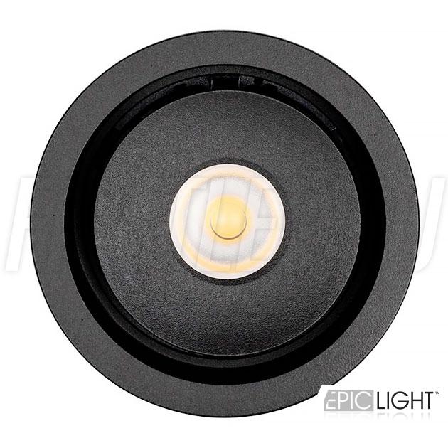 Круглый встраиваемый светодиодный светильник SIMPLE R 9W черного цвета