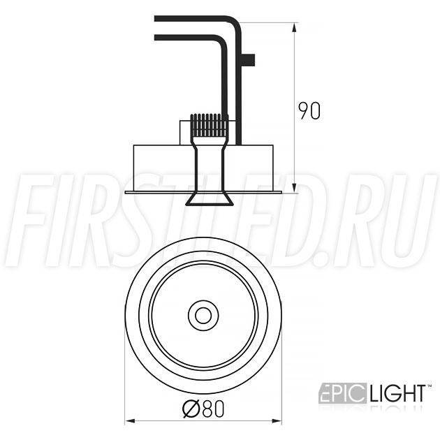 Чертеж (схема) встраиваемого светильника SIMPLE R 9W