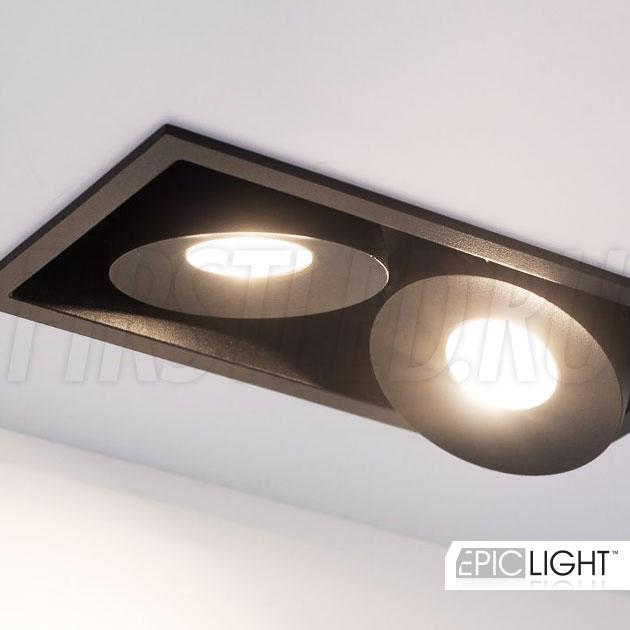 Двойной встраиваемый светодиодный светильник SIMPLE S 2x9W в черном корпусе