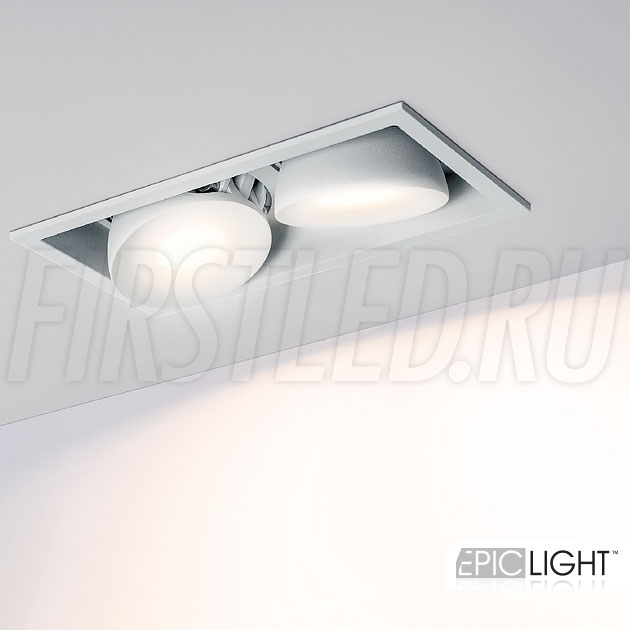 Двойной встраиваемый светодиодный светильник SIMPLE S 2x9W в белом корпусе