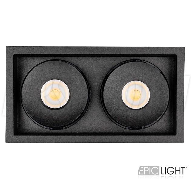 Прямоугольный двойной встраиваемый светодиодный светильник SIMPLE S 2x9W черного цвета
