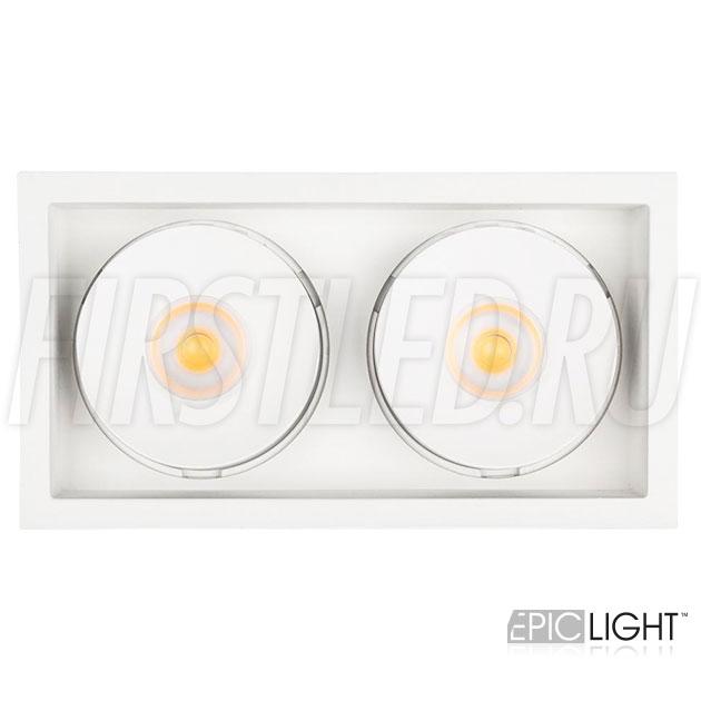 Прямоугольный двойной встраиваемый светодиодный светильник SIMPLE S 2x9W белого цвета