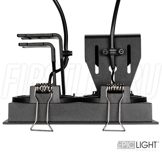 Черный, прямоугольный и двойной встраиваемый светодиодный светильник SIMPLE S 2x9W с регулируемыми углами наклона и поворотными модулями