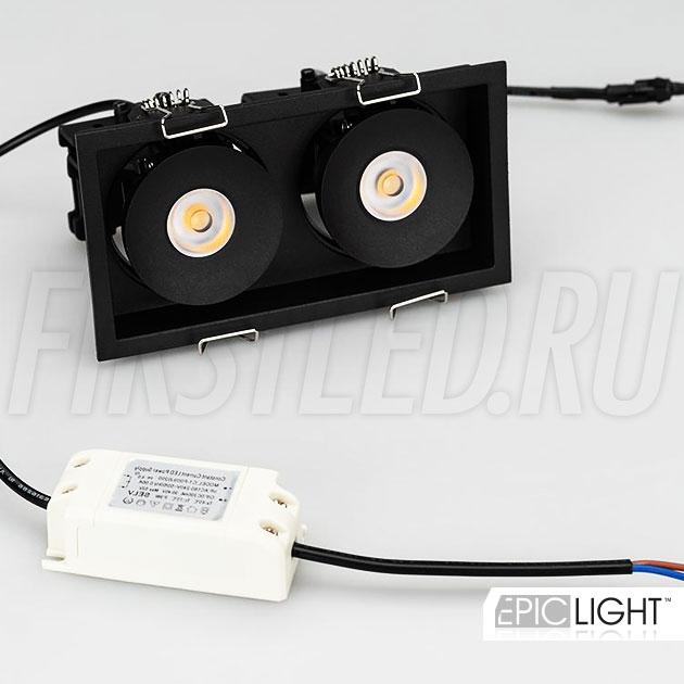 Двойной черный встраиваемый светодиодный светильник SIMPLE S 2x9W в комплекте с источником питания