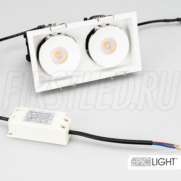 Двойной встраиваемый светодиодный светильник SIMPLE S 2x9W белого цвета в комплекте с источником питания