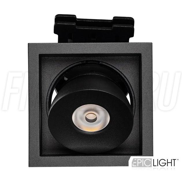 Встраиваемый светодиодный светильник с регулируемым углом наклона SIMPLE S 9W в квадратном исполнении и черном корпусе