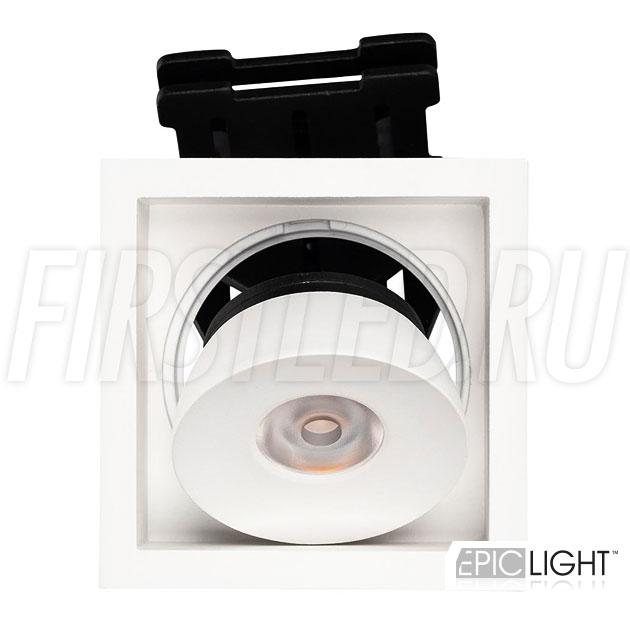 Встраиваемый светодиодный светильник с регулируемым углом наклона SIMPLE S 9W в квадратном исполнении и белом корпусе