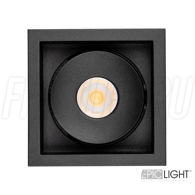 Квадратный встраиваемый светодиодный светильник SIMPLE S 9W черного цвета