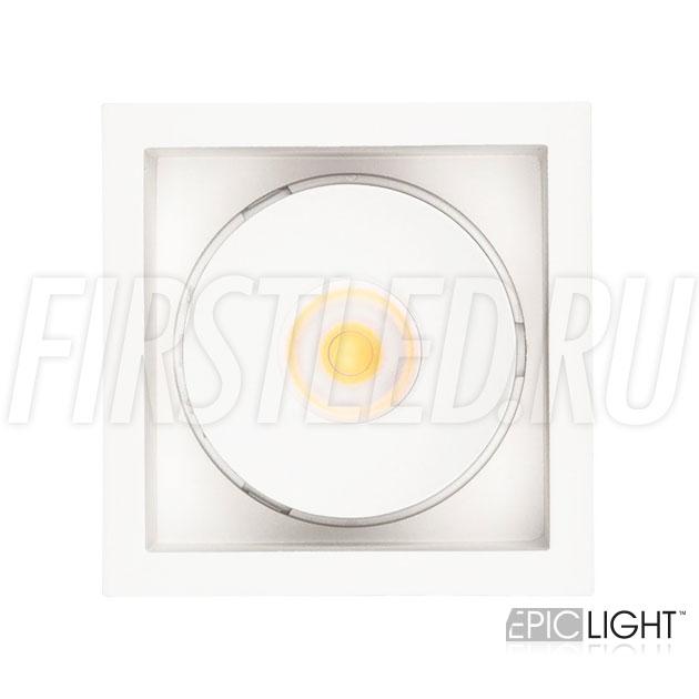 Квадратный встраиваемый светодиодный светильник SIMPLE S 9W белого цвета