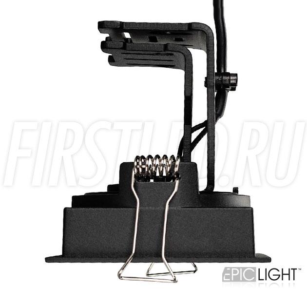 Квадратный черный встраиваемый светодиодный светильник SIMPLE S 9W с регулируемым углом наклона и поворота модуля