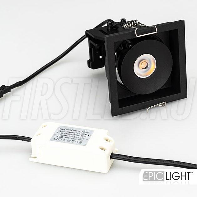 Встраиваемый светодиодный светильник SIMPLE S 9W квадратной формы в комплекте с источником питания в черном корпусе