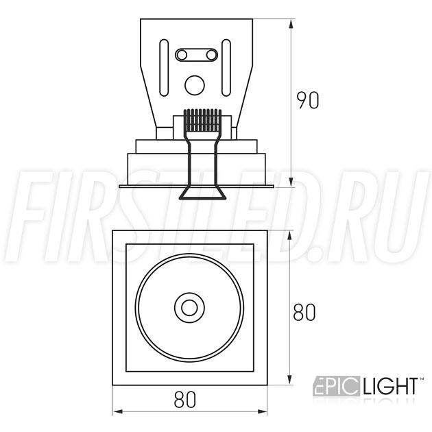 Чертеж (схема) встраиваемого светильника SIMPLE S 9W
