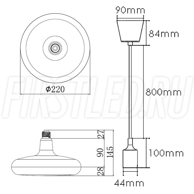 Чертеж (схема) подвесного светодиодного светильника SYMBOL