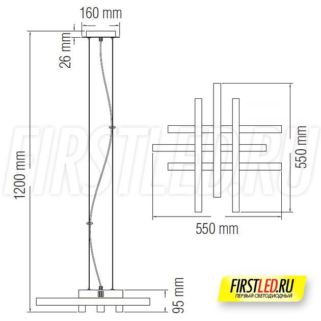 Чертеж (схема) светодиодной люстры ASFOR 50